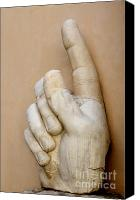 Statue Canvas Prints - Hand with pointing index finger. statue of Constantine. Palazzo dei Conservatori. Capitoline Museums Canvas Print by Bernard Jaubert