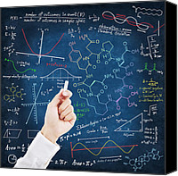 Black Pastels Canvas Prints - Hand writing science formulas Canvas Print by Setsiri Silapasuwanchai