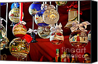 Merry Christmas Canvas Prints - Handcrafted Mouth Blown Christmas Glass Balls Canvas Print by Christine Till