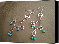 Handcrafted Jewelry Canvas Prints - Handcrafted Wire Earrings Canvas Print by Beth Sebring