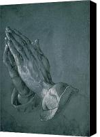 Jesus Drawings Canvas Prints - Hands of an Apostle Canvas Print by Albrecht Durer