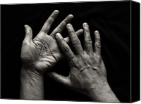 Gesturing Canvas Prints - Hands On Black Background Canvas Print by Luigi Masella