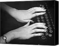 Typewriter Canvas Prints - Hands Typing Canvas Print by George Marks