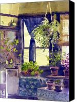 Potted Plants Painting Canvas Prints - Hanging Fern Canvas Print by Donald Maier