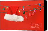 Wish Canvas Prints - Hanging lights with santa hat Canvas Print by Sandra Cunningham