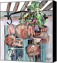 Pans Canvas Prints - Hanging Pots And Pans Canvas Print by Arline Wagner