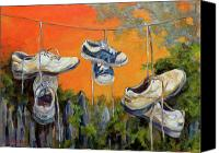Athletic Painting Canvas Prints - Hanging Tennis Shoes Canvas Print by Jean Groberg