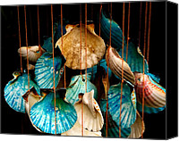 Wind Chimes Canvas Prints - Hanging Together - Sea Shell Wind Chime Canvas Print by Steven Milner