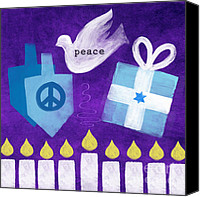 Judaica Canvas Prints - Hanukkah Peace Canvas Print by Linda Woods