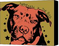 Pitbull Canvas Prints - Happiness Is The Pits Canvas Print by Dean Russo