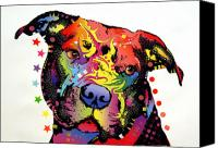 Dean Russo Mixed Media Canvas Prints - Happiness Pitbull Warrior Canvas Print by Dean Russo