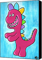 Cute Drawings Canvas Prints - Happosaur Canvas Print by Jera Sky