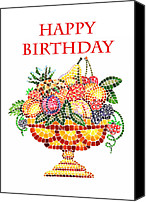 Great Painting Canvas Prints - Happy Birthday Card Fruit Vase Mosaic Canvas Print by Irina Sztukowski