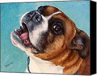 Boxer Canvas Prints - Happy Boxer Dog Canvas Print by Dottie Dracos