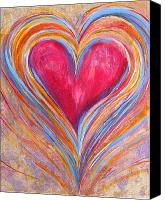 Yellow Canvas Prints - Happy Dancing Heart Canvas Print by Samantha Lockwood