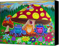 Frog Art Canvas Prints - Happy Frog Meadows Canvas Print by Nick Gustafson