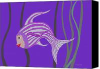 Fish Prints Canvas Prints - Happy Girl Fish Canvas Print by Fred Jinkins