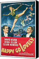 1950s Poster Art Canvas Prints - Happy Go Lovely, David Niven Canvas Print by Everett