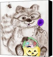 Raccoon Digital Art Canvas Prints - Happy Halloween Raccoon Canvas Print by Sonya Chalmers