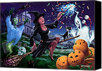 Bat Digital Art Canvas Prints - Happy Halloween Witch with graveyard friends Canvas Print by Martin Davey