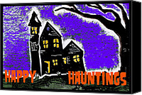 Haunted House Mixed Media Canvas Prints - Happy Hauntings Canvas Print by Jame Hayes