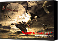 Christmas Cards Canvas Prints - Happy Holidays . Winter Migration Canvas Print by Wingsdomain Art and Photography