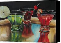 And Apple Martini On A Brass Beer Tray Canvas Prints - Happy Hour 2007  Canvas Print by Torrie Smiley
