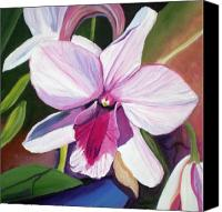 Purple Floral Canvas Prints - Happy Orchid Canvas Print by Marionette Taboniar