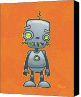 Machine Canvas Prints - Happy Robot Canvas Print by John Schwegel
