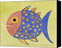 Fish Prints Canvas Prints - Happy Speckled Fish Canvas Print by Fred Jinkins
