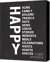 Song Mixed Media Canvas Prints - Happy Things Canvas Print by Linda Woods