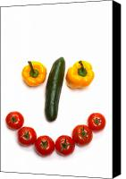 Smile Canvas Prints - Happy Veggie Face Canvas Print by Olivier Le Queinec