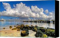 Florida Bridge Canvas Prints - Harbor Clouds at Boynton Beach Inlet Canvas Print by Debra and Dave Vanderlaan