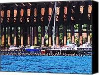 Marquette Digital Art Canvas Prints - Harbor Docks Canvas Print by Phil Perkins