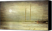 Ship Mixed Media Canvas Prints - Harbor Moonlight Canvas Print by Michael Petrizzo
