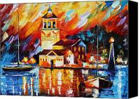 House Painting Canvas Prints - Harbor Of Excitement Canvas Print by Leonid Afremov