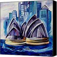 Kangaroo Painting Canvas Prints - Harbour Bridge II Canvas Print by Yelena Dyumin