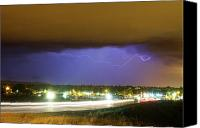 Loveland Canvas Prints - Hard Rain  Lightning Thunderstorm over Loveland Colorado Canvas Print by James Bo Insogna