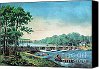 Harlem River Canvas Prints - Harlem River, New York, 19th Century Canvas Print by Photo Researchers