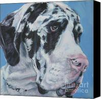 Great Dane Canvas Prints - harlequin Great Dane Canvas Print by Lee Ann Shepard