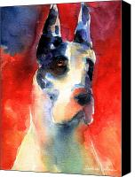 Oil Cat  Canvas Prints - Harlequin Great dane watercolor painting Canvas Print by Svetlana Novikova