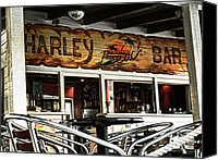 Beach Scene Canvas Prints - Harley Beach Bar Canvas Print by Jasna Buncic