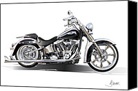 American Motocycle Canvas Prints - Harley bike Canvas Print by Alain Jamar