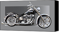 American Motocycle Canvas Prints - Harley Davidson Canvas Print by Alain Jamar