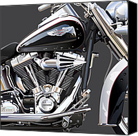 American Motocycle Canvas Prints - Harley Davidson Detail Canvas Print by Alain Jamar