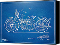1919 Canvas Prints - Harley-Davidson Motorcycle 1928 Patent Artwork Canvas Print by Nikki Marie Smith