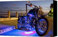 Night Photo Canvas Prints - Harley Davidson Motorcycle Canvas Print by Dustin K Ryan