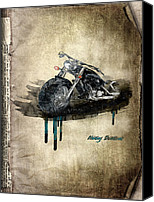 Transportation Mixed Media Canvas Prints - Harley Davidson Canvas Print by Svetlana Sewell