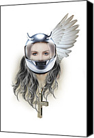 Human Beings Mixed Media Canvas Prints - Harley Davidson woman Canvas Print by Mark Ashkenazi