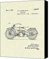 William Drawings Canvas Prints - Harley Motorcycle 1924 Patent Art Canvas Print by Prior Art Design